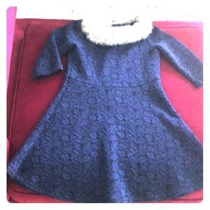 Janie & Jack faux fur collar blue dress  girls  7